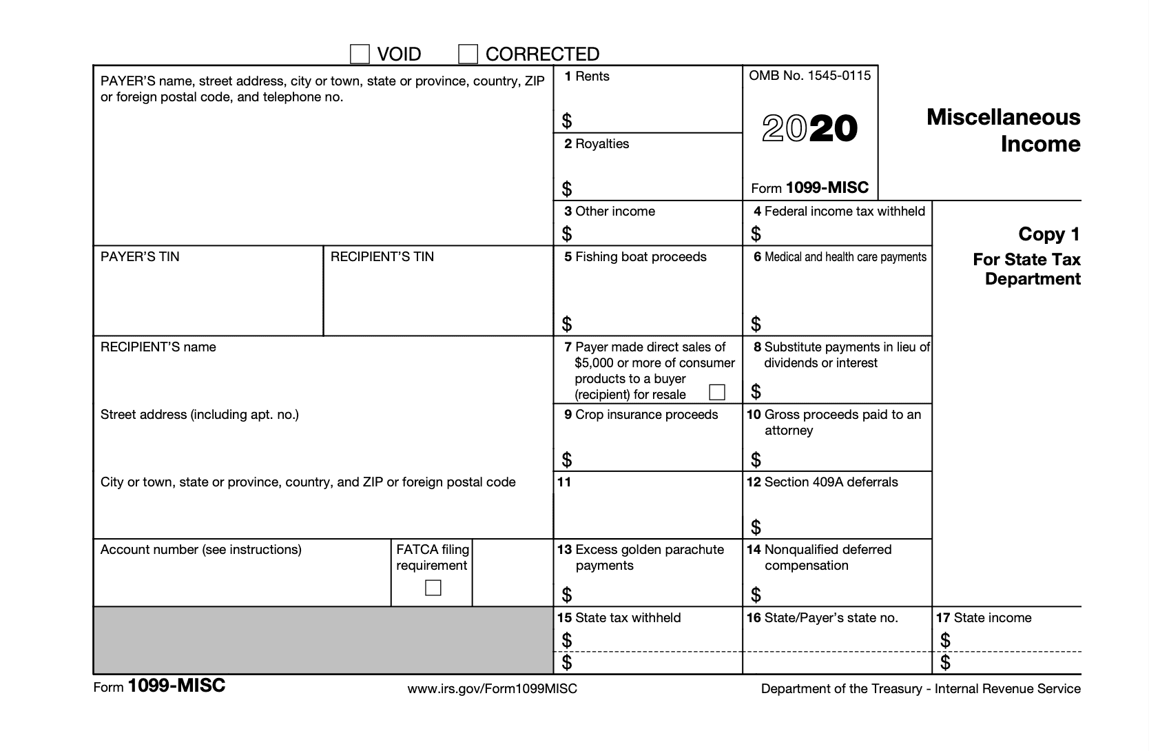 New IRS Form 1099 Misc